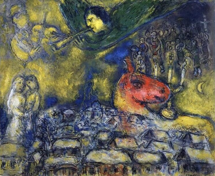 Angel over vitebsk 1977 - by Marc Chagall