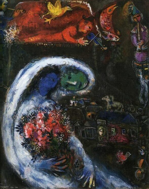 Bride with blue face 1932 - by Marc Chagall