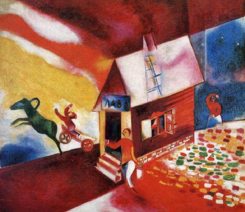 The Burning House, 1913 - by Marc Chagall Chagall Crucifixion