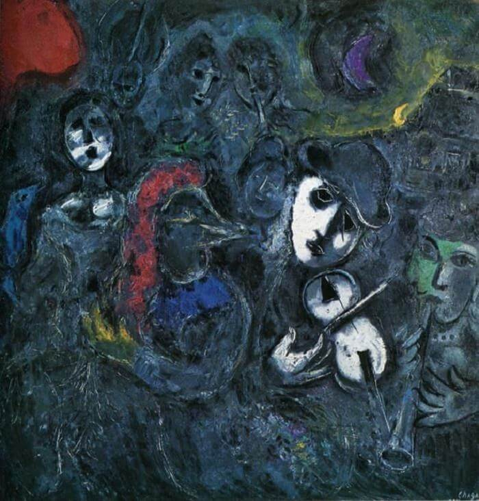 Clowns at Night, 1957 - by Marc Chagall