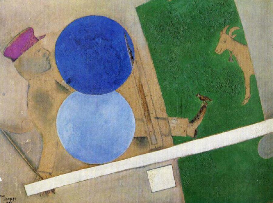 Composition with circles and goat - by Marc Chagall
