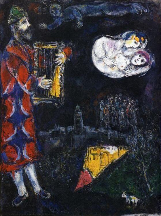 King davids tower 1968 - by Marc Chagall