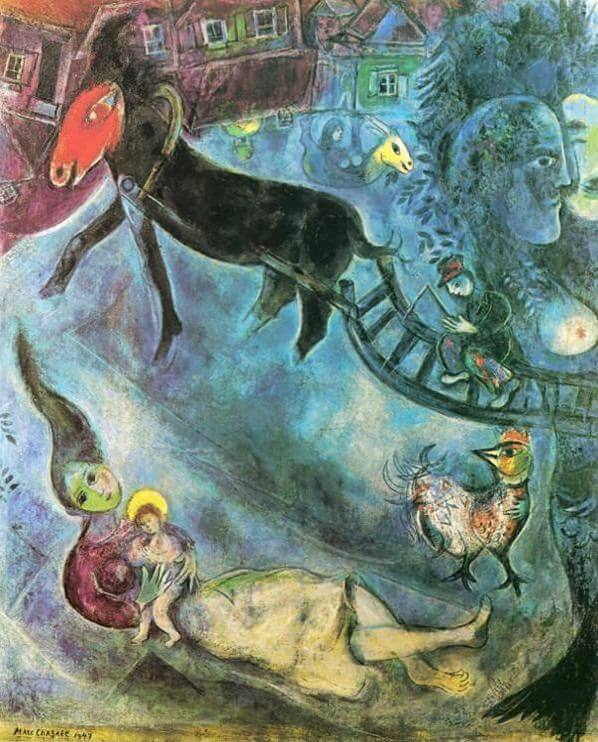 Madonna with the sleigh 1947 - by Marc Chagall