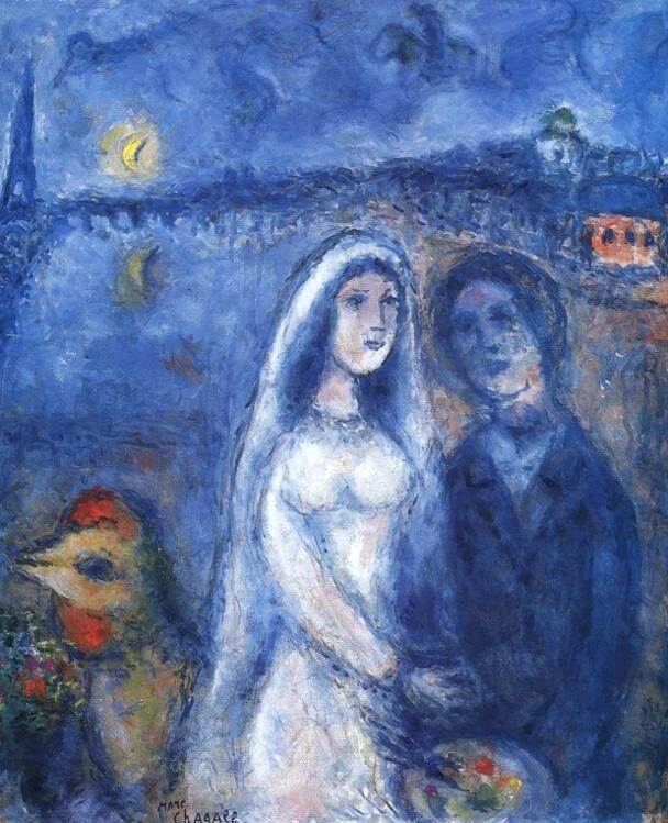 Newlyweds with eiffel towel in the background 1982-83 - by Marc Chagall