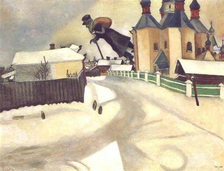 Over Vitebsk, 1913 by Marc Chagall Chagall Crucifixion