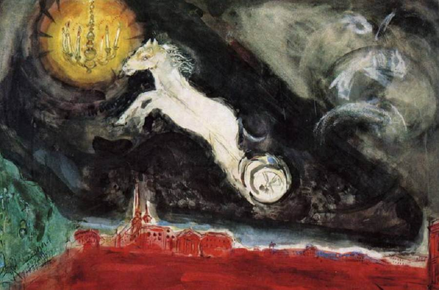 Scene Design for the Finale of the Ballet Aleko, 1942 - by Marc Chagall