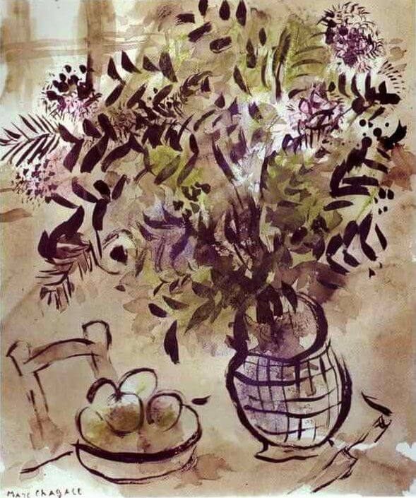 Still life with vase of flowers - by Marc Chagall