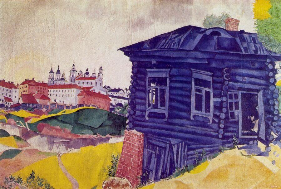 The Blue House, 1917 - by Marc Chagall