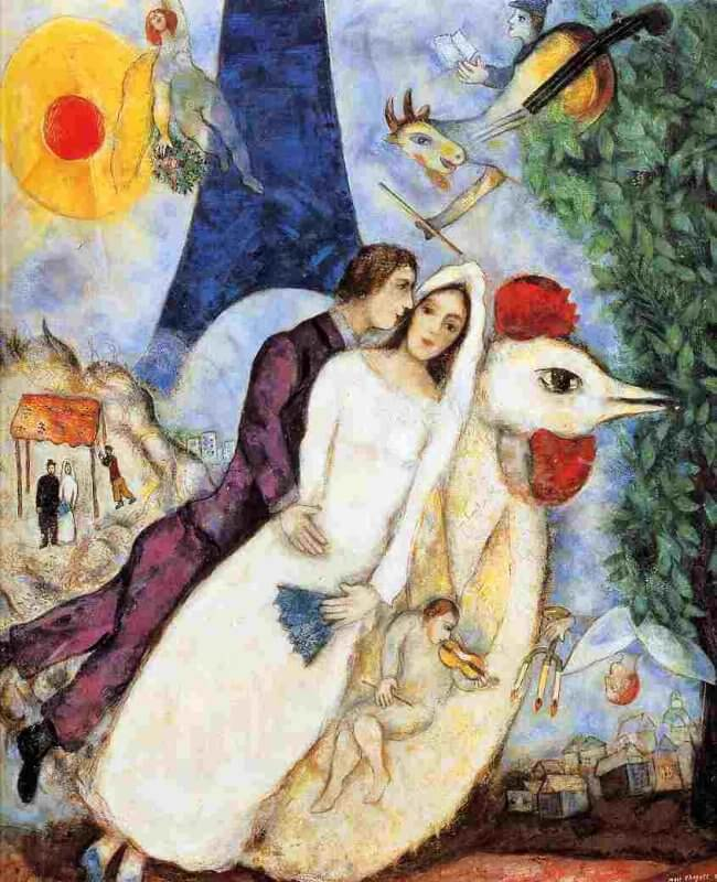 The Bridal Pair with The Eiffel Tower, 1939 by Marc Chagall