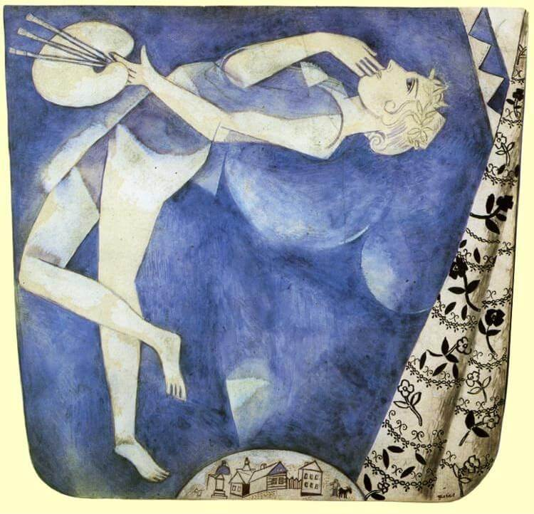The painter to the moon, 1917 - by Marc Chagall