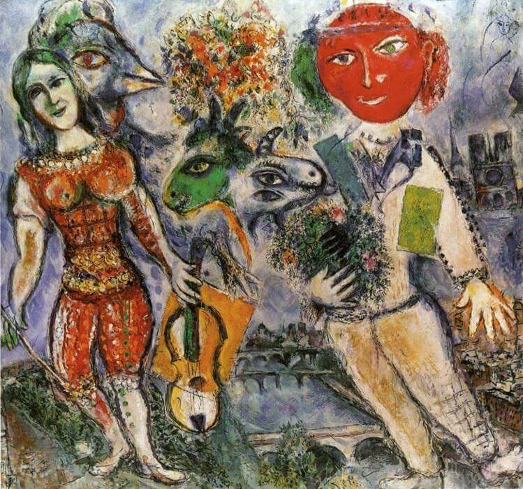 The players, 1968 - by Marc Chagall
