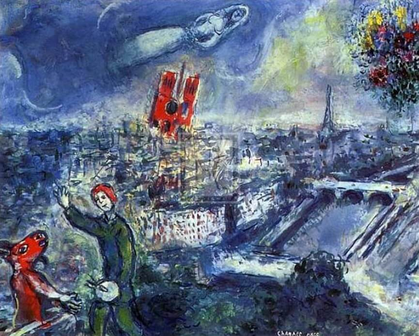 View of Paris, 1969 - by Marc Chagall Chagall Crucifixion