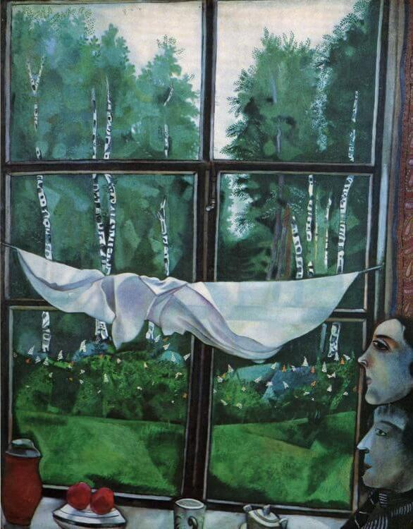 Window in the Country, 1915 - by Marc Chagall Chagall Crucifixion Paintings