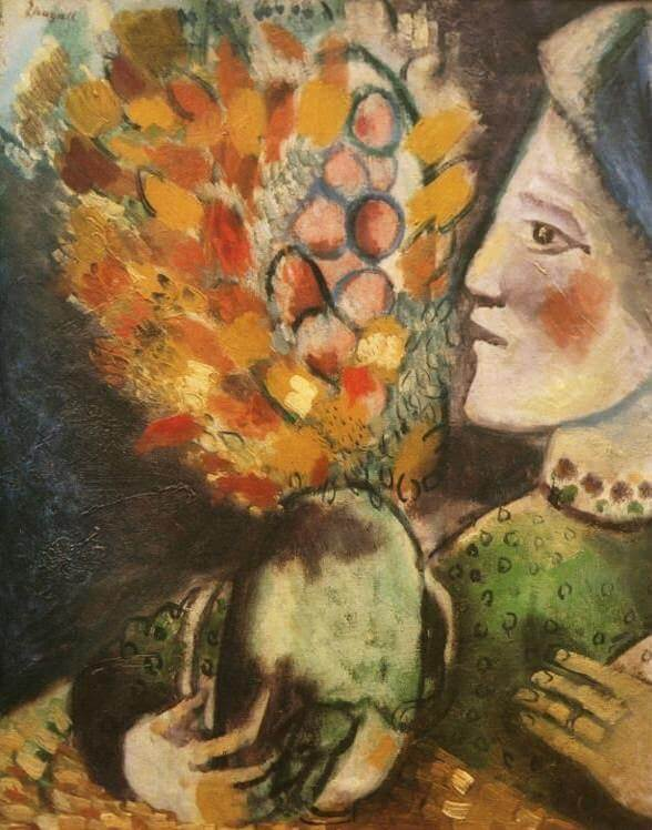 Woman With A Bouquet 1910 By Marc Chagall